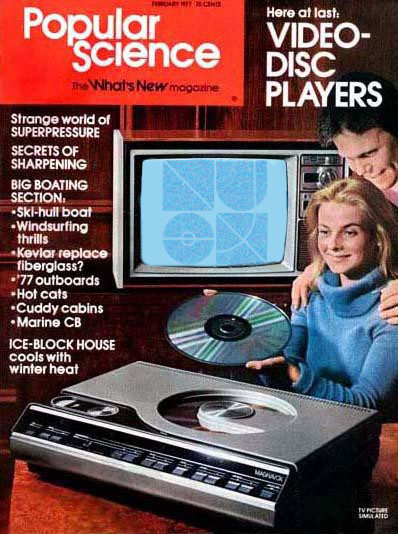"""A Popular Science cover advertising """"Video-Disc Players"""", with ~minder-folden's sigil present on a television"""